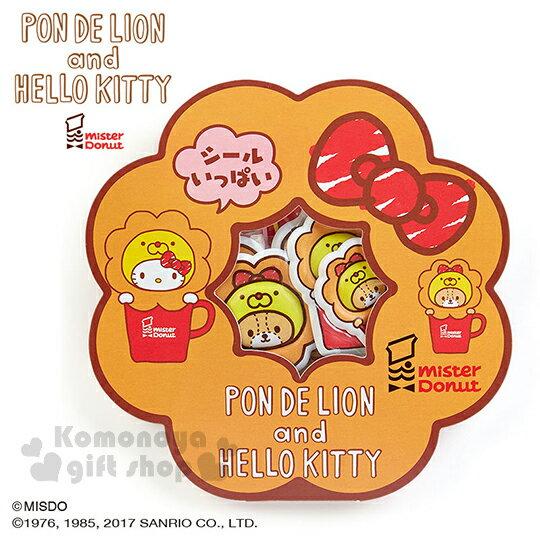 〔小禮堂〕Hello Kitty x mister Donut 造型泡棉貼紙組《甜甜圈紙卡.紅蝴蝶結》