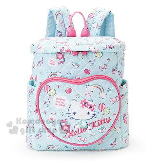 〔小禮堂〕Hello Kitty 兒童棉質後背包《粉藍.氣球.彩虹》菱格紋逢線