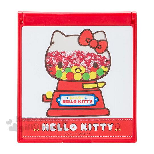 〔小禮堂〕Hello Kitty 方型折疊鏡《紅白.糖果機》復古懷舊系列