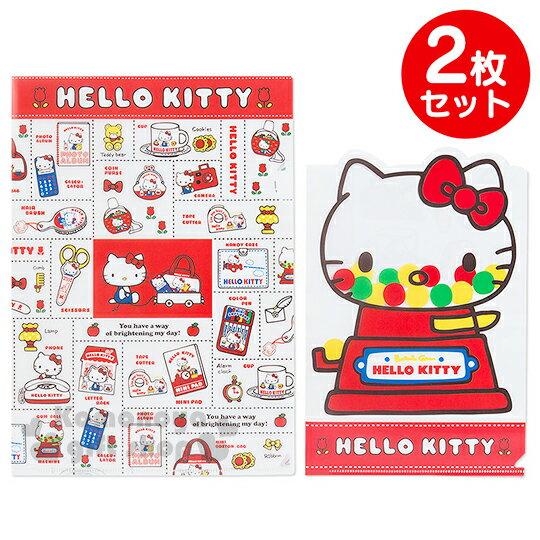 〔小禮堂〕Hello Kitty L型分類文件夾組《A4+A5.紅白.糖果機》復古懷舊系列