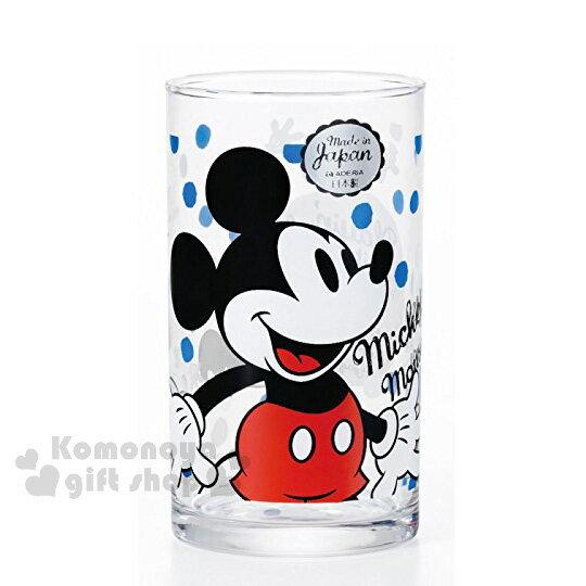 〔小禮堂〕迪士尼 米奇 玻璃杯《透明.藍白圓點.側身》紅棕盒裝
