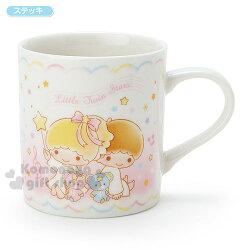 〔小禮堂〕雙子星 日製陶瓷杯《白.繽紛星星.音符.坐姿》金正陶器