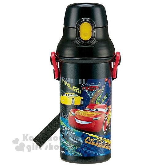 特價399↘〔小禮堂〕迪士尼閃電麥坤cars日製直飲式水壺《黑.朋友.480ml》