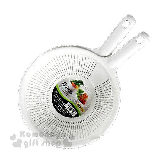 〔小禮堂〕Sanada 日製握把洗菜籃組《白》1.2L