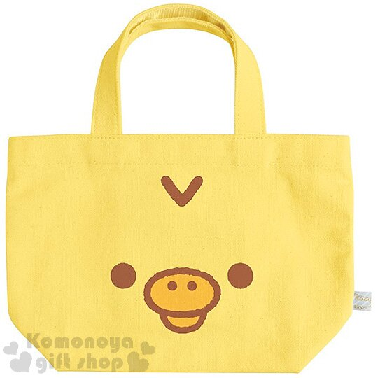 〔小禮堂〕拉拉熊 小雞 帆布手提袋~黃.大臉~
