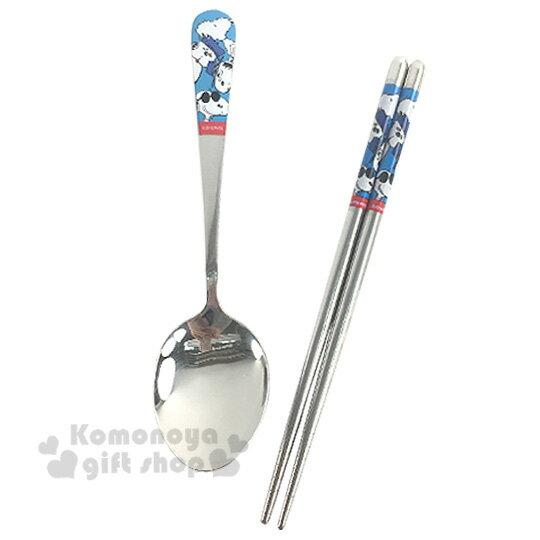 〔小禮堂〕史努比 不鏽鋼筷匙組《藍.腳印.坐姿.歐拉夫》
