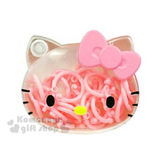 〔小禮堂〕Hello Kitty 塑膠扣環組~透明.大臉.粉蝴蝶結~附 盒.直徑2cm