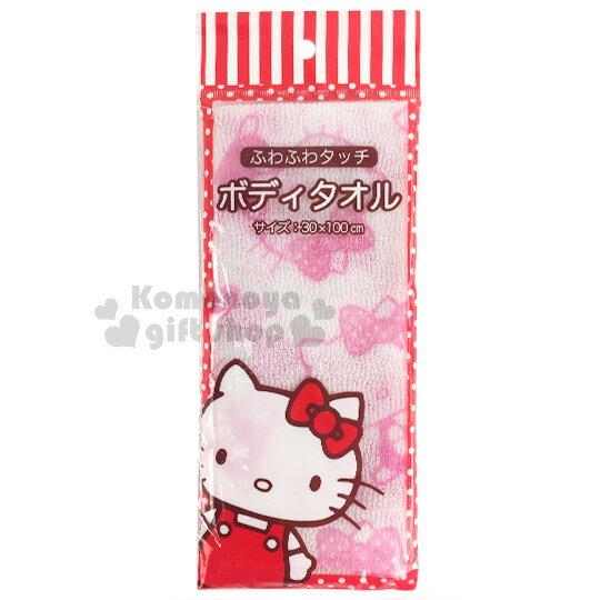 〔小禮堂〕Hello Kitty 身體沐浴巾《白粉.蝴蝶結.側坐.滿版.30x100cm》 0