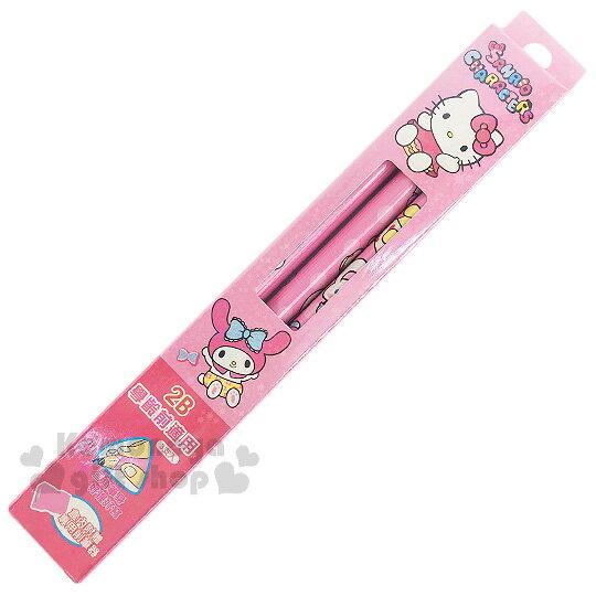 〔小禮堂〕Sanrio大集合 三角鉛筆組《粉.內褲.閃亮亮.多角色》3支入.2B筆芯