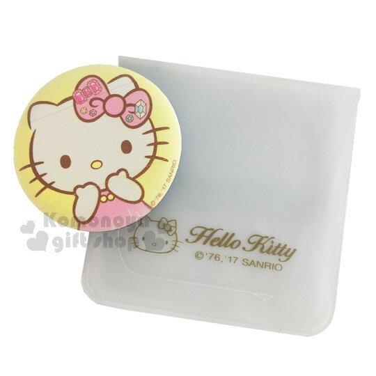 〔小禮堂〕Hello Kitty 手套型氣墊粉撲《黃.摸臉.寶石蝴蝶結》BB.CC霜.氣墊粉餅專用