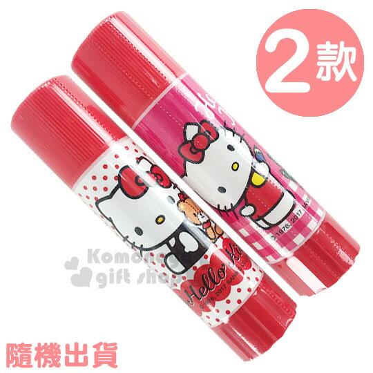 〔小禮堂〕Hello Kitty 口紅膠《2款.隨機出貨.紅/桃紅.點點/格紋.坐姿/拿蠟筆》
