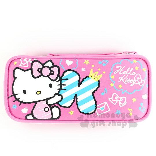 〔小禮堂﹞Hello Kitty 布質雙拉鍊全開式筆袋《粉.側坐.字母k.塗鴉》