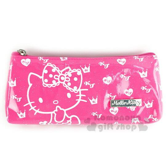 〔小禮堂﹞Hello Kitty 防水拉鍊筆袋《粉.愛心.銀條LOGO.亮粉.側坐》