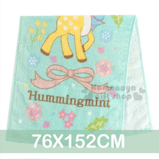 〔小禮堂〕哈妮鹿大浴巾《淺藍.花.蝴蝶結.76x152cm》100%純棉