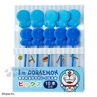 小叮噹週邊商品推薦〔小禮堂〕哆啦A夢 日製造型食物叉《藍.深藍.坐姿.10入》2種顏色各半