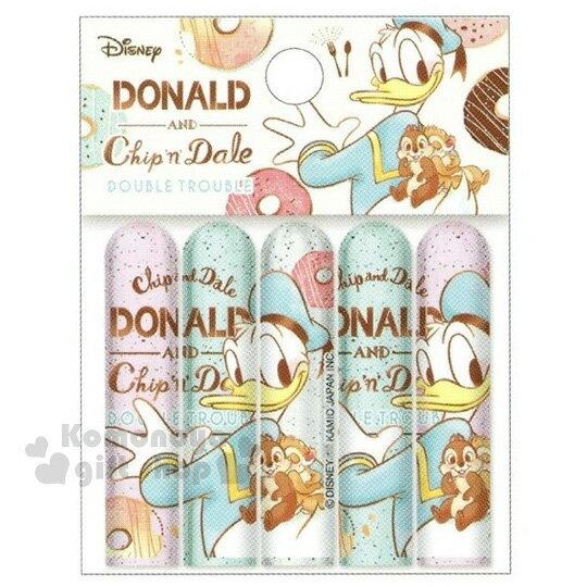〔小禮堂〕迪士尼 唐老鴨 奇奇蒂蒂 日製筆蓋組《5入.粉綠白.甜甜圈》