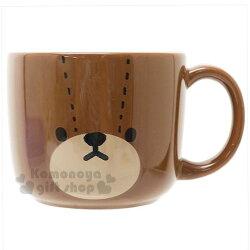〔小禮堂〕小熊學校 日製陶瓷杯《深咖.大臉》金正陶器