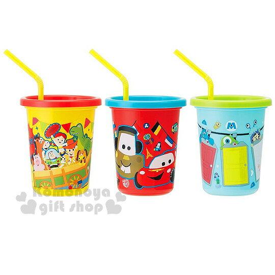 〔小禮堂〕迪士尼 皮克斯 日製塑膠杯《3入.黃藍紅.玩具總動員  cars  怪獸大學.320ml》附蓋.吸管