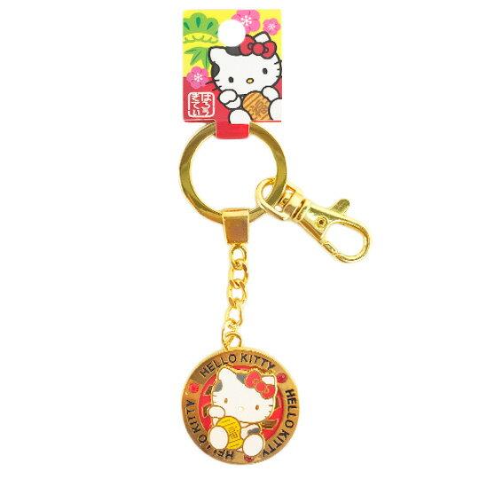 〔小禮堂〕Hello Kitty 造型鑰匙圈《金.圓形.招財貓.紅鑽.坐姿》背面風扇造型
