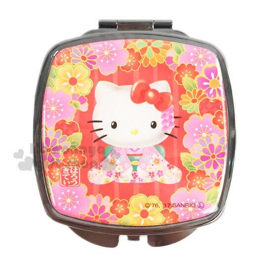 〔小禮堂〕Hello Kitty 方形隨身鏡《紅.花朵.和服.跪姿》雙面鏡設計