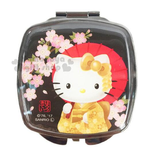 〔小禮堂〕Hello Kitty 方形隨身鏡《黑.櫻花.紙傘.半身》雙面鏡設計