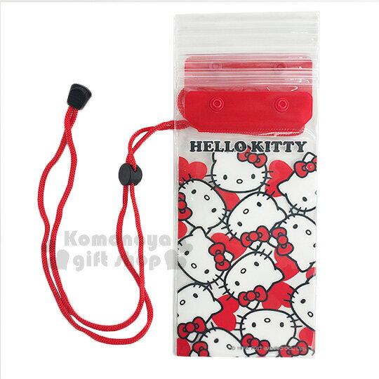 〔小禮堂〕Hello Kitty 防水手機袋《紅.透明.大臉滿版.愛心》附頸掛繩