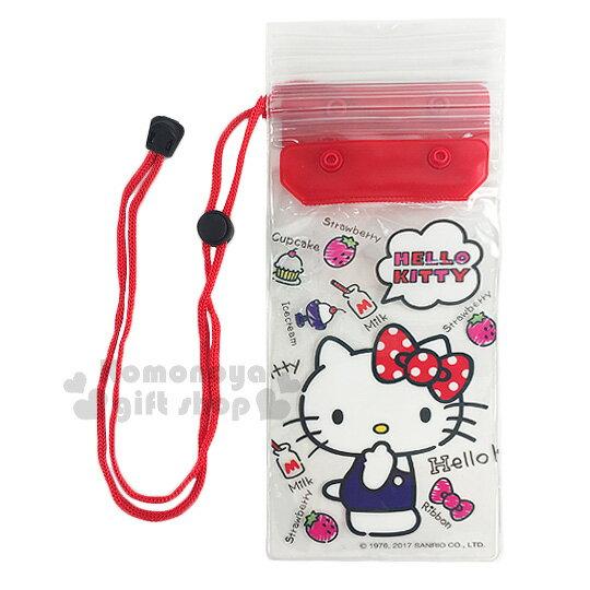 〔小禮堂〕Hello Kitty 防水手機袋《紅.透明.草莓.點點蝴蝶結.摸臉》附頸掛繩