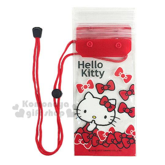 〔小禮堂〕Hello Kitty 防水手機袋《紅.透明.摸臉.蝴蝶結》附頸掛繩