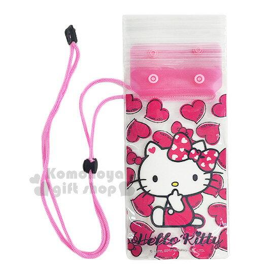 〔小禮堂〕Hello Kitty 防水手機袋《桃紅.透明.愛心滿版.側坐》附頸掛繩