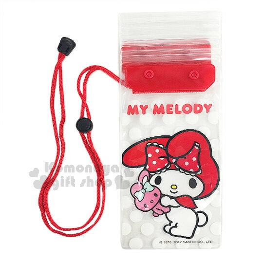 〔小禮堂〕美樂蒂 防水手機袋《紅.透明.抱兔子.點點滿版》附頸掛繩