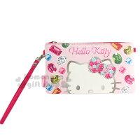 凱蒂貓週邊商品推薦到〔小禮堂〕Hello Kitty 皮質手機包《粉.橫式.彩色寶石.大臉》附腕繩 方便拿取