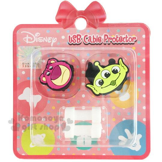 〔小禮堂〕迪士尼 造型傳輸線保護套《桃綠.三眼怪.熊抱哥.大臉》保護充電線不受損