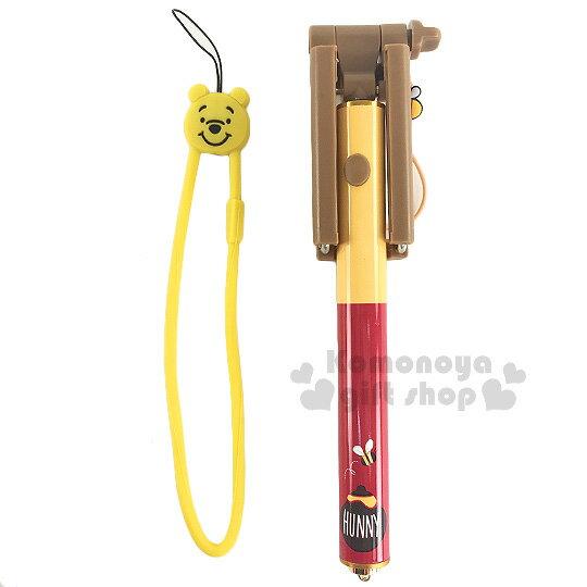 〔小禮堂〕迪士尼 小熊維尼 線控自拍棒《紅黃.蜂蜜罐》可延伸至54cm