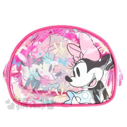 〔小禮堂﹞迪士尼 米妮 透明防水化妝包《透明.桃.蝴蝶結.彩色點點》硬式支架設計