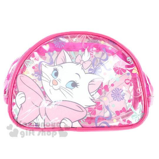 〔小禮堂﹞迪士尼 瑪莉貓 透明防水化妝包《透明.桃.蝴蝶結.彩色點點》硬式支架設計