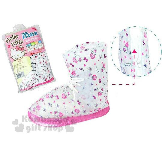 〔小禮堂〕Hello Kitty 成人拉鍊雨鞋套《透明粉.蝴蝶結.冰淇淋.滿版》鞋帶可調鬆緊