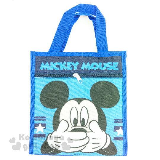 〔小禮堂〕迪士尼 米奇 帆布直式手提袋《藍.大臉.摀嘴》