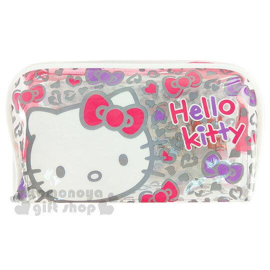 〔小禮堂﹞Hello Kitty 拉鍊防水筆袋《粉拉鍊.豹紋.蝴蝶結.愛心》