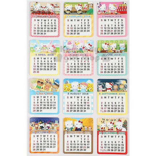〔小禮堂〕Hello Kitty 日製2018月曆貼紙《12枚.季節圖案.12月份》手機.容器皆可黏貼