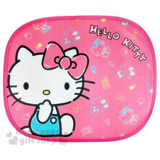 〔小禮堂〕Hello Kitty 汽車側窗遮陽板《桃.側坐.咬手指》吸盤式