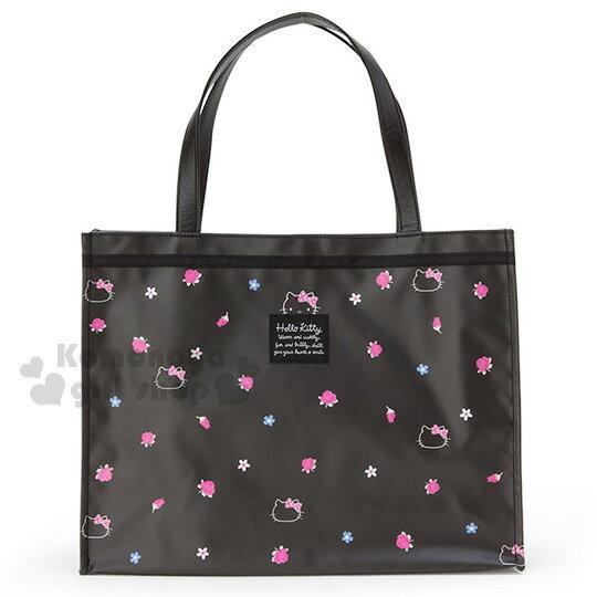 〔小禮堂〕Hello Kitty 防水手提袋《L.黑.小花.大臉.滿版》防潑水加工