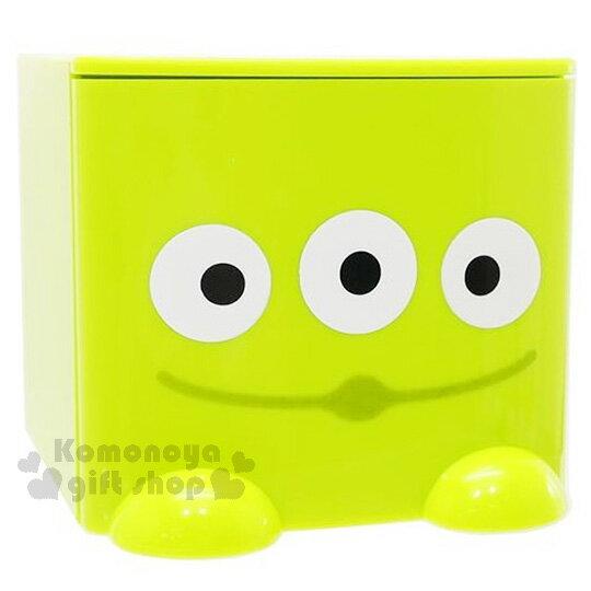 〔小禮堂〕迪士尼 三眼怪 桌上單抽積木收納盒《淺綠.大臉》可多個推疊
