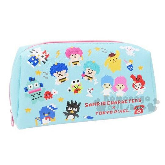 〔小禮堂〕Sanrio大集合 滿版拉鍊化妝包《綠粉.kitty.布丁狗.美樂蒂.大耳狗.酷企鵝》大容量設計