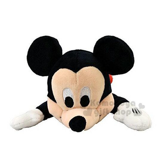 〔小禮堂〕迪士尼 米奇 絨毛立體筆袋《黑紅.趴姿》