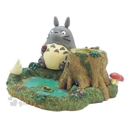 〔小禮堂〕宮崎駿Totoro龍貓桌上型置物座《綠藍.池塘.樹洞》
