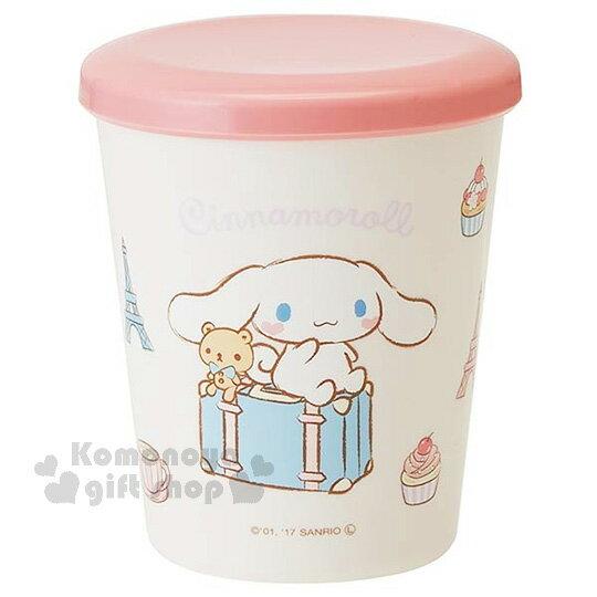 〔小禮堂〕大耳狗日製塑膠小水杯《白.粉蓋.行李箱.甜點.小熊.坐姿.260ml》附蓋防灰塵