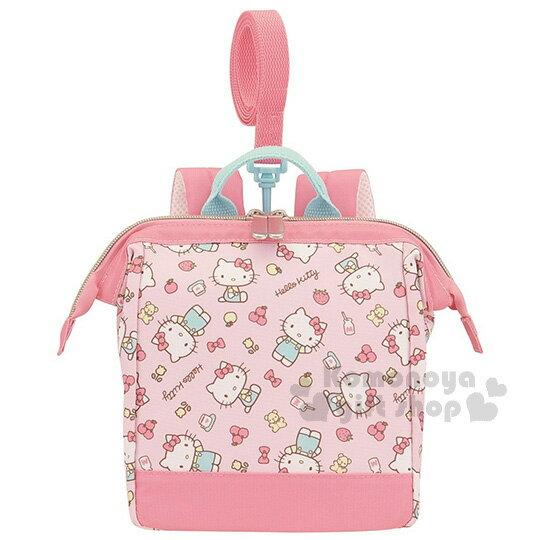 〔小禮堂〕Hello Kitty 兒童保冷後背包《S.粉.藍吊帶褲.草莓.蘋果》硬式口金開口