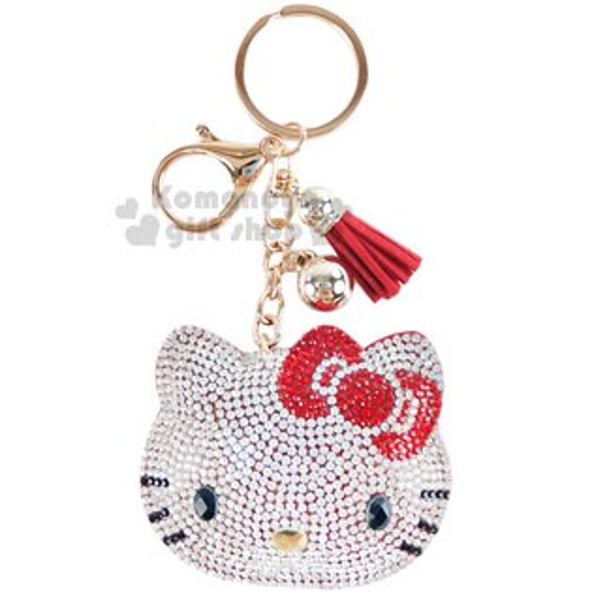 〔小禮堂〕HelloKitty麂皮造型吊飾《紅.大臉.水鑽.流蘇》掛鉤.鑰匙圈