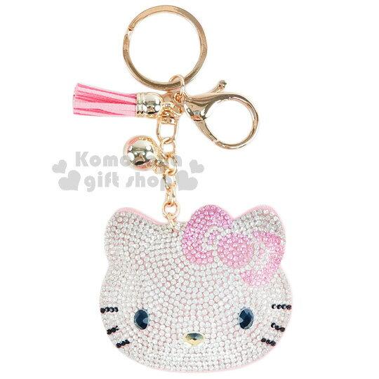 〔小禮堂〕Hello Kitty 麂皮造型吊飾《粉.大臉.水鑽.流蘇》掛鉤.鑰匙圈