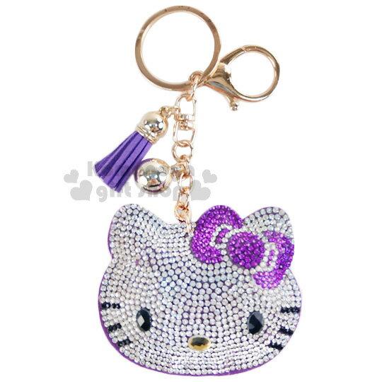 〔小禮堂〕Hello Kitty 麂皮造型吊飾《紫.大臉.水鑽.流蘇》掛鉤.鑰匙圈
